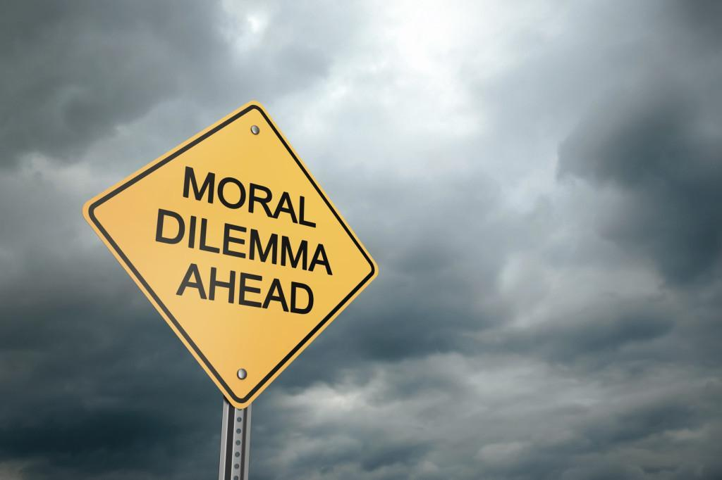 Road Warning Sign, Moral Dilemma Ahead , 3d render
